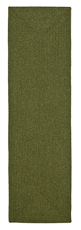 """Reversible 2'3"""" x 12' Runner Rug, Green, large"""
