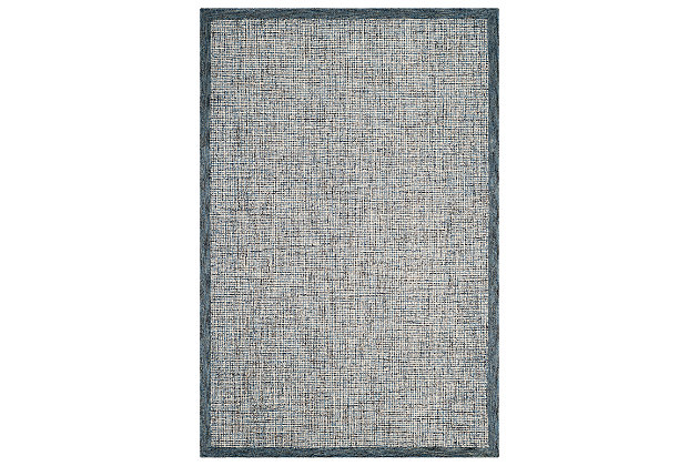 Hand Crafted 6' x 9' Area Rug, Ivory/Navy, large