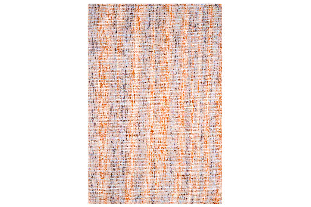 Abstract 6' x 9' Area Rug, Beige/Rust, large