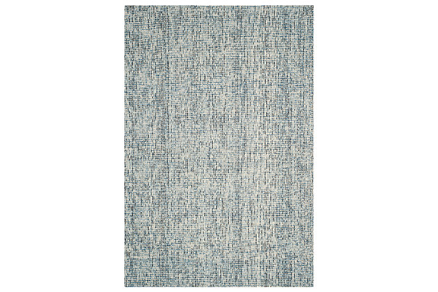 Abstract 6' x 9' Area Rug, Charcoal/Blue, large