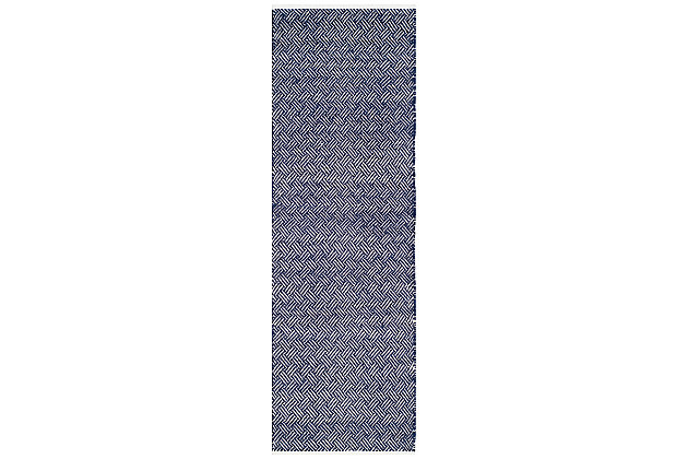 "Hand Crafted 2'3"" x 11' Runner Rug, Navy, large"
