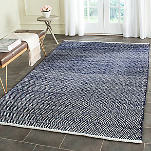Hand Crafted 5' x 8' Area Rug, Navy, rollover