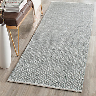 "Hand Crafted 2'3"" x 7' Runner Rug, Gray, rollover"