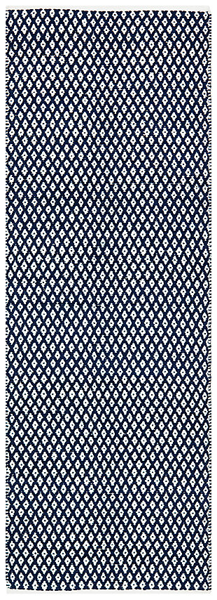 "Hand Crafted 2'3"" x 7' Runner Rug, Navy, large"