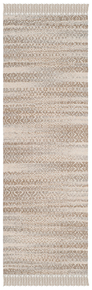 """Hand Crafted 2'3"""" x 7' Runner Rug, Ivory/Beige, large"""