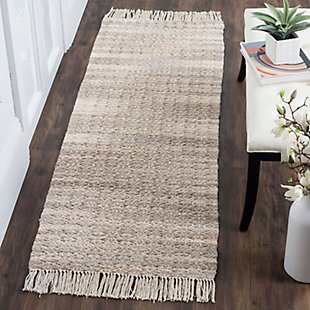 """Hand Crafted 2'3"""" x 7' Runner Rug, Ivory/Beige, rollover"""