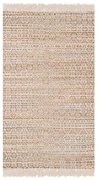 Hand Crafted 3' x 5' Area Rug, Ivory/Beige, large