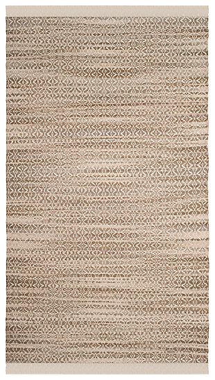 Hand Crafted 5' x 8' Area Rug, Ivory/Beige, large