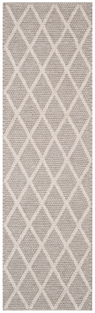 "Hand Crafted 2'3"" x 8' Runner Rug, Gray, large"