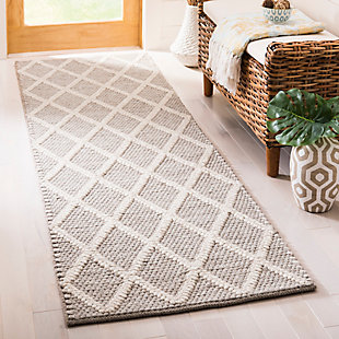 "Hand Crafted 2'3"" x 8' Runner Rug, Gray, rollover"