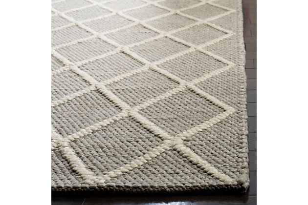 Hand Crafted 5' x 8' Area Rug, Gray, large