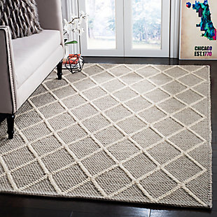 Hand Crafted 6' x 9' Area Rug, Gray, rollover