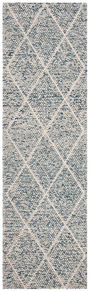 """Hand Crafted 2'3"""" x 8' Runner Rug, Blue/Ivory, large"""