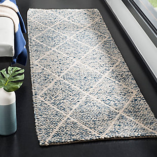 """Hand Crafted 2'3"""" x 8' Runner Rug, Blue/Ivory, rollover"""