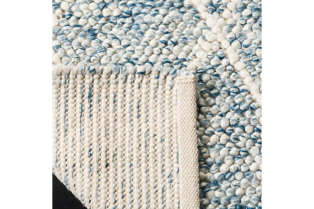 Hand Crafted 6' x 9' Area Rug, Blue/Ivory, large