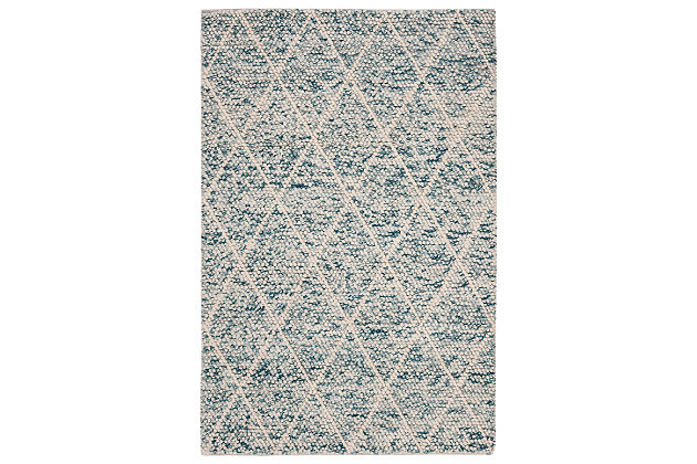 Hand Crafted 5' x 8' Area Rug, Blue/Ivory, large
