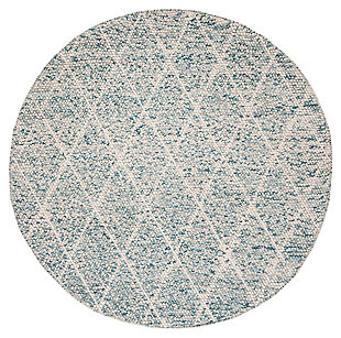 Hand Crafted 6' x 6' Round Rug, Blue/Ivory, large