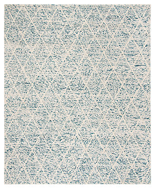 Hand Crafted 8' x 10' Area Rug, Blue/Ivory, large