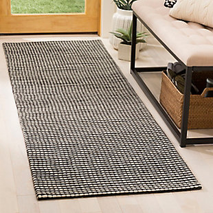 """Hand Crafted 2'3"""" x 8' Runner Rug, Black/Ivory, large"""