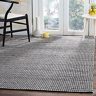 Hand Crafted 5' x 8' Area Rug, Black/Ivory, rollover