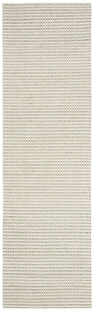 "Hand Crafted 2'3"" x 8' Runner Rug, Silver/Ivory, large"