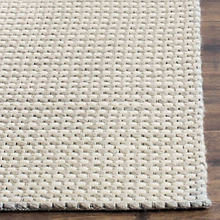 Hand Crafted 6' x 6' Square Rug, Silver/Ivory, large