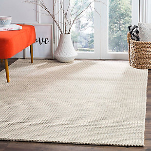 Hand Crafted 8' x 10' Area Rug, Silver/Ivory, rollover