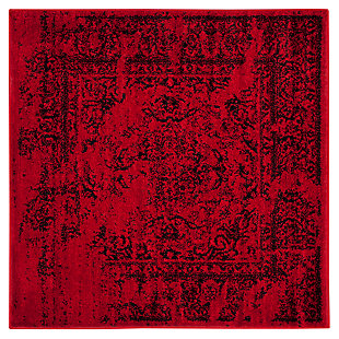 Abstract 4' x 4' Square Rug, Red/Black, large