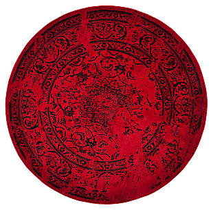 Abstract 8' x 8' Round Rug, Red/Black, large