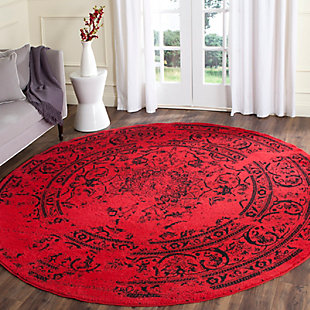 Abstract 8' x 8' Round Rug, Red/Black, rollover