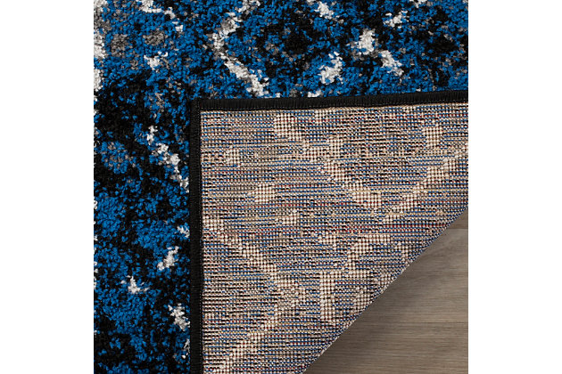 Abstract 6' x 9' Area Rug, Silver/Black, large