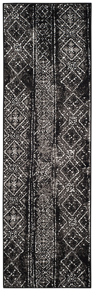 "Abstract 2'6"" x 8' Runner Rug, Black/Silver, large"