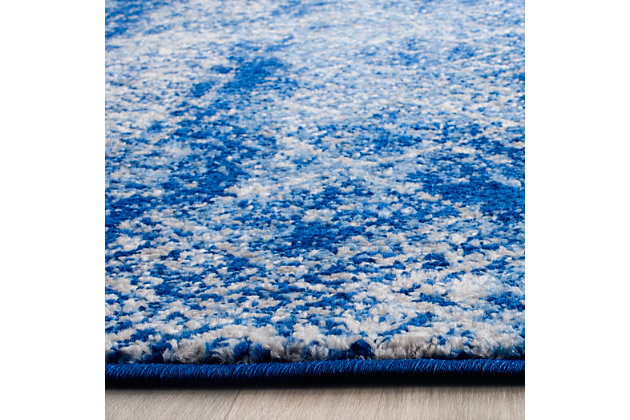 "Abstract 2'6"" x 10' Runner Rug, Blue/Silver, large"