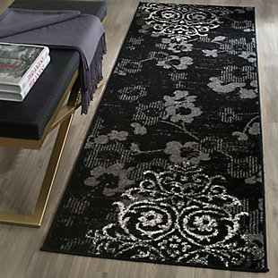 """Abstract 2'6"""" x 8' Runner Rug, Black/Silver, large"""