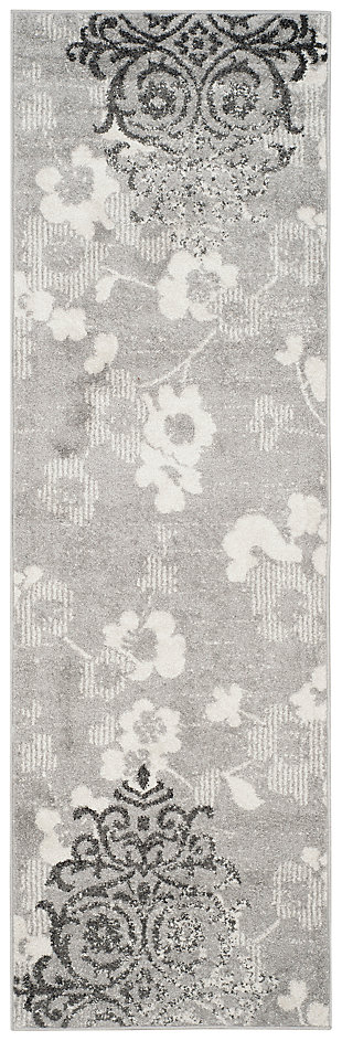 "Abstract 2'6"" x 8' Runner Rug, Silver/Ivory, large"