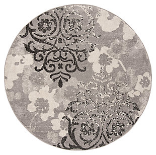 Abstract 7' x 7' Round Rug, Silver/Ivory, large