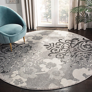 Abstract 7' x 7' Round Rug, Silver/Ivory, rollover