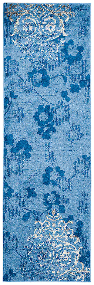 "Abstract 2'6"" x 8' Runner Rug, Blue, large"