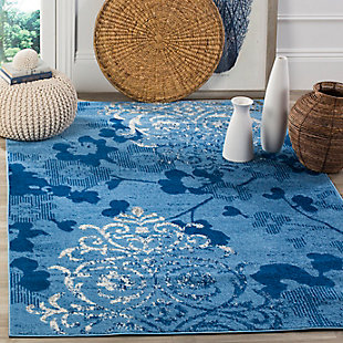 "Abstract 5'1"" x 7'6"" Area Rug, Blue, rollover"