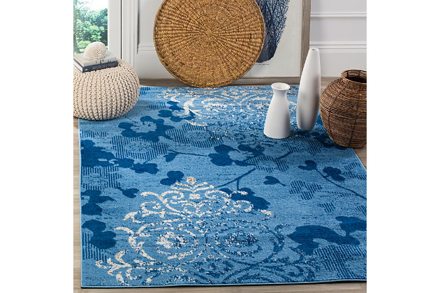 "Abstract 5'1"" x 7'6"" Area Rug, Blue, large"
