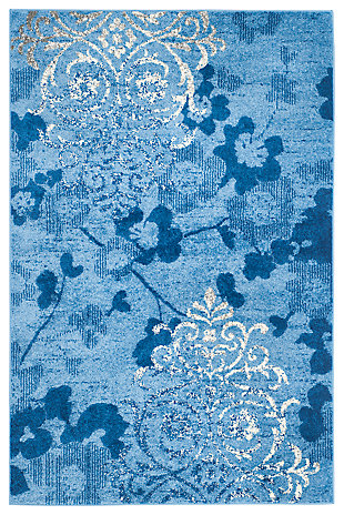 Abstract 6' x 9' Area Rug, Blue, rollover