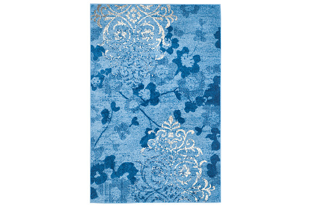 Abstract 6' x 9' Area Rug, Blue, large