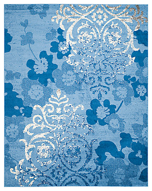 Abstract 8' x 10' Area Rug, Blue, large