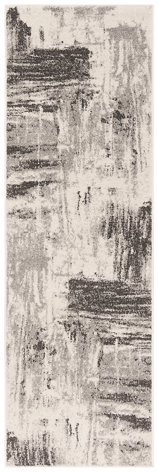 """Abstract 2'6"""" x 8' Runner Rug, Gray/Ivory, large"""