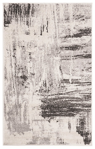 Abstract 3' x 5' Area Rug, Gray/Ivory, rollover