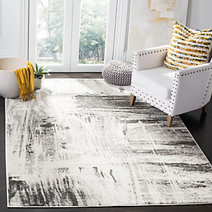 "Abstract 5'1"" x 7'6"" Area Rug, Gray/Ivory, rollover"