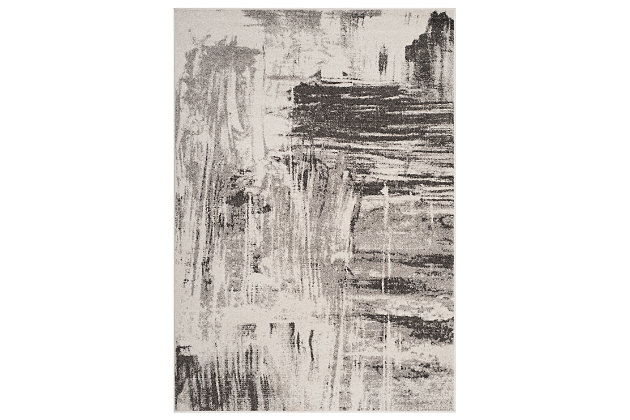 Abstract 6' x 9' Area Rug, Gray/Ivory, large