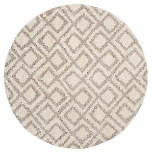 "Hand Crafted 6'7"" x 6'7"" Round Rug, Ivory/Beige, large"
