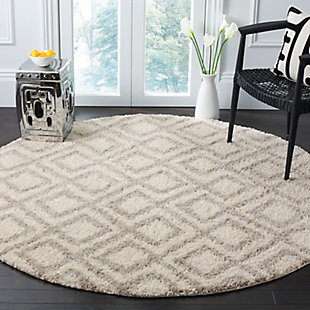 "Hand Crafted 6'7"" x 6'7"" Round Rug, Ivory/Beige, rollover"