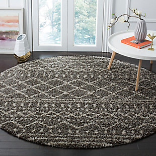 "Hand Crafted 6'7"" x 6'7"" Round Rug, Ivory/Brown, large"